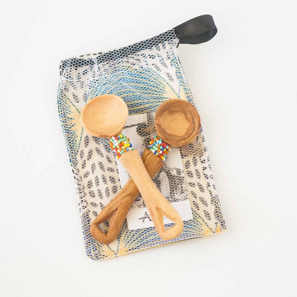 Olive Wood Beaded Handle Mini Spoons | Set of 2