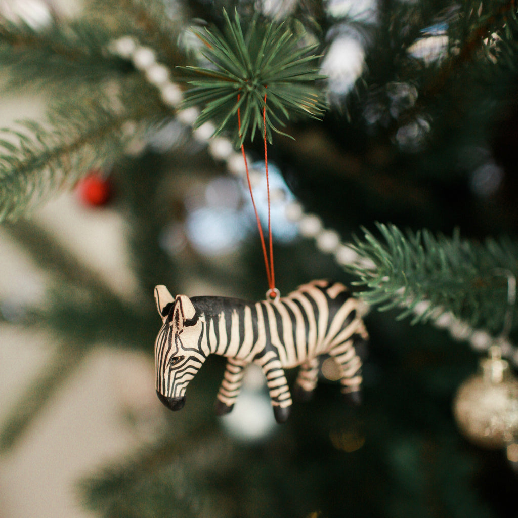 Hand-carved Zebra Ornament
