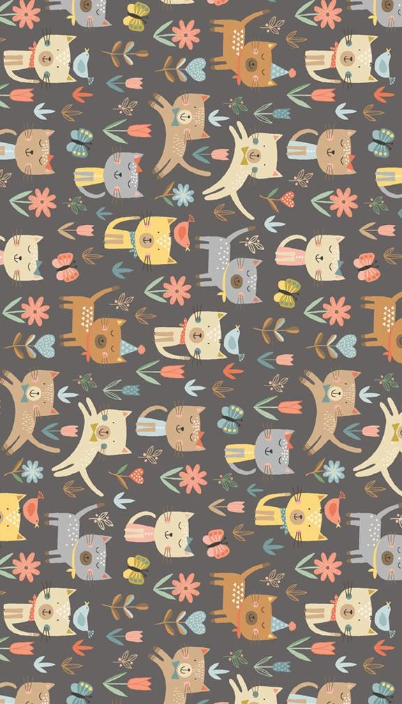 Cool Cats Jumping - Grey/Multi - Craftyangel