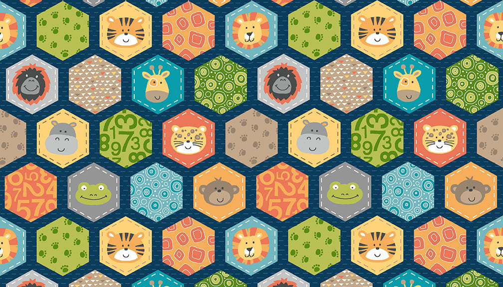 Jungle Hexagons - Blue - Craftyangel