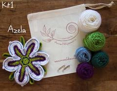 Crocheted Flowers to Wear - Kit 1 - Azela flower - Craftyangel