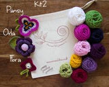 Crocheted Flowers to Wear - Kit 2 - Pansy, Orla and Flora flowers - Craftyangel
