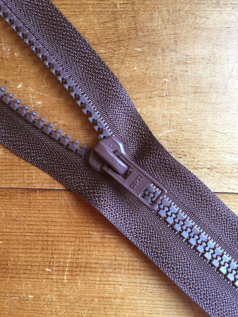 "Nylon Chunky Open Ended Zip - 14""/36cm - Brown - Craftyangel"