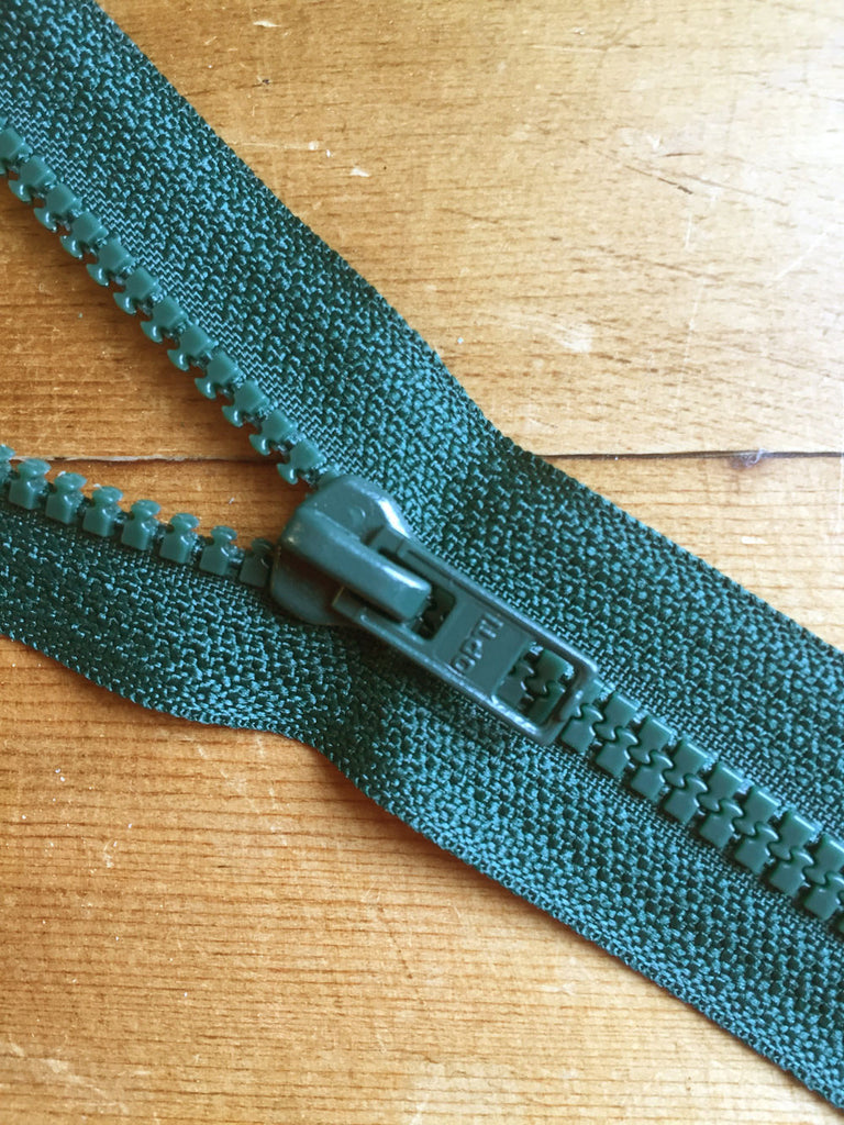 "Nylon Chunky Open Ended Zip - 14""/36cm - Bottle Green - Craftyangel"