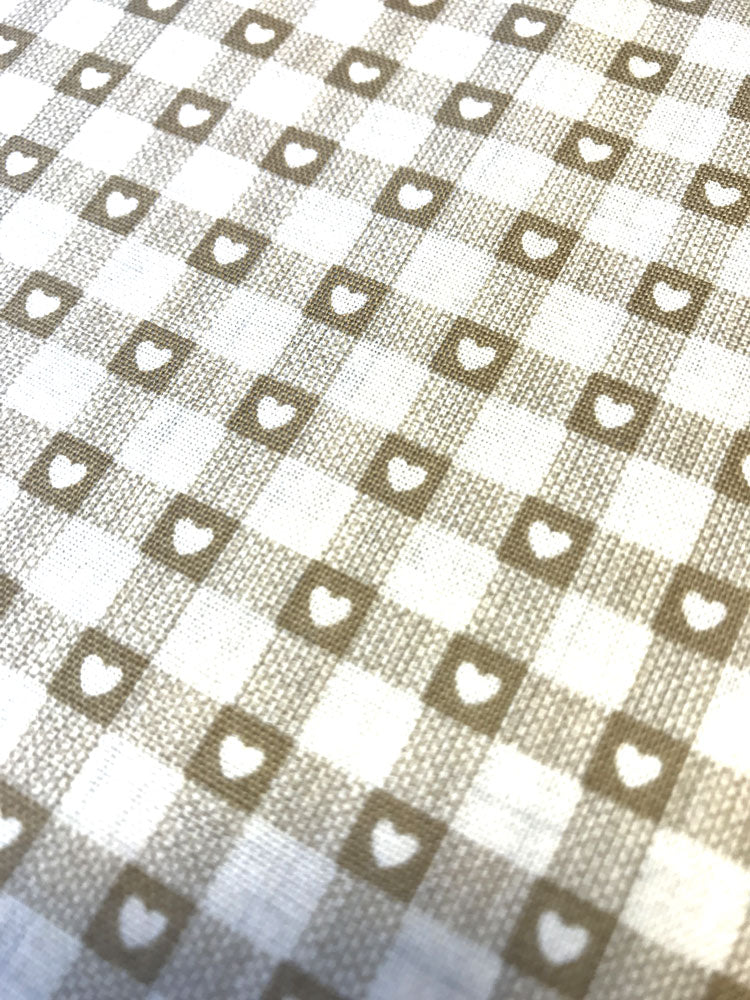 Hearts - Scandi Check basics - Cream - Craftyangel