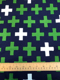 Cloud 9 Fabrics - Cross in Navy - Knit - Craftyangel