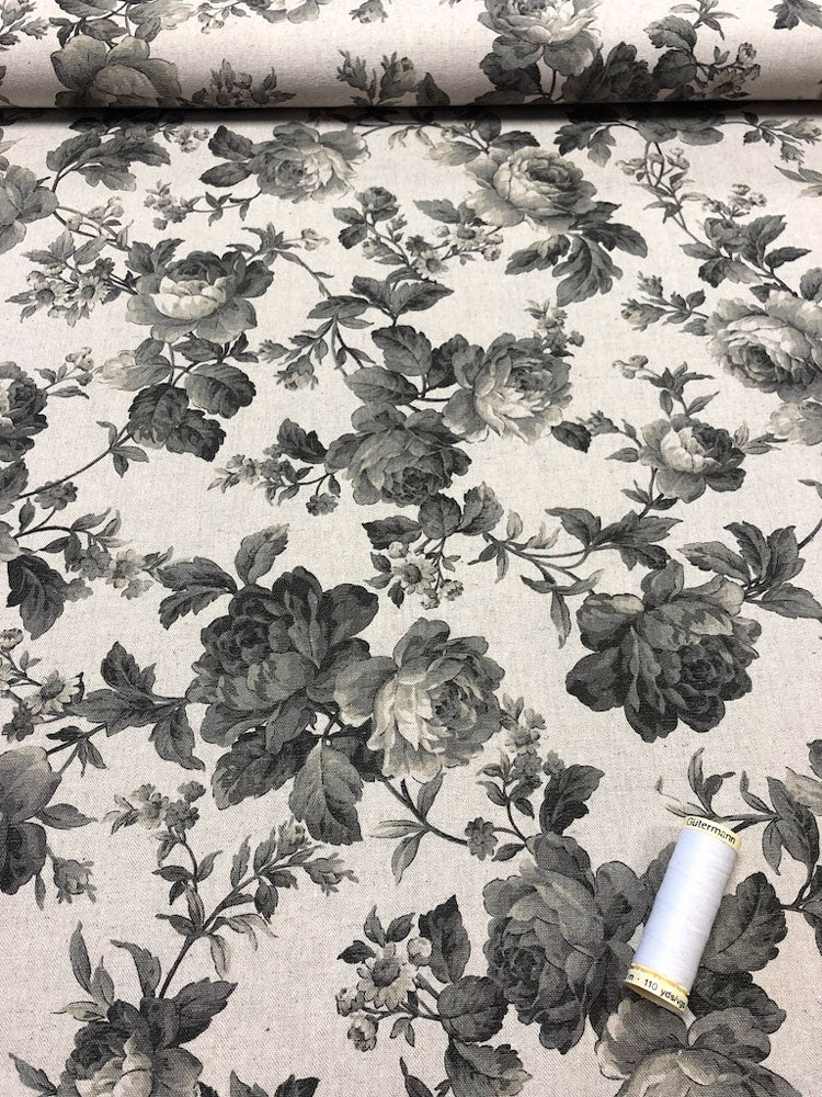 Linen - Floral Cream and Black
