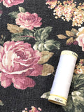 Linen - Floral Black and Pink - Craftyangel