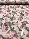 Linen - Floral Cream and Pink - Craftyangel