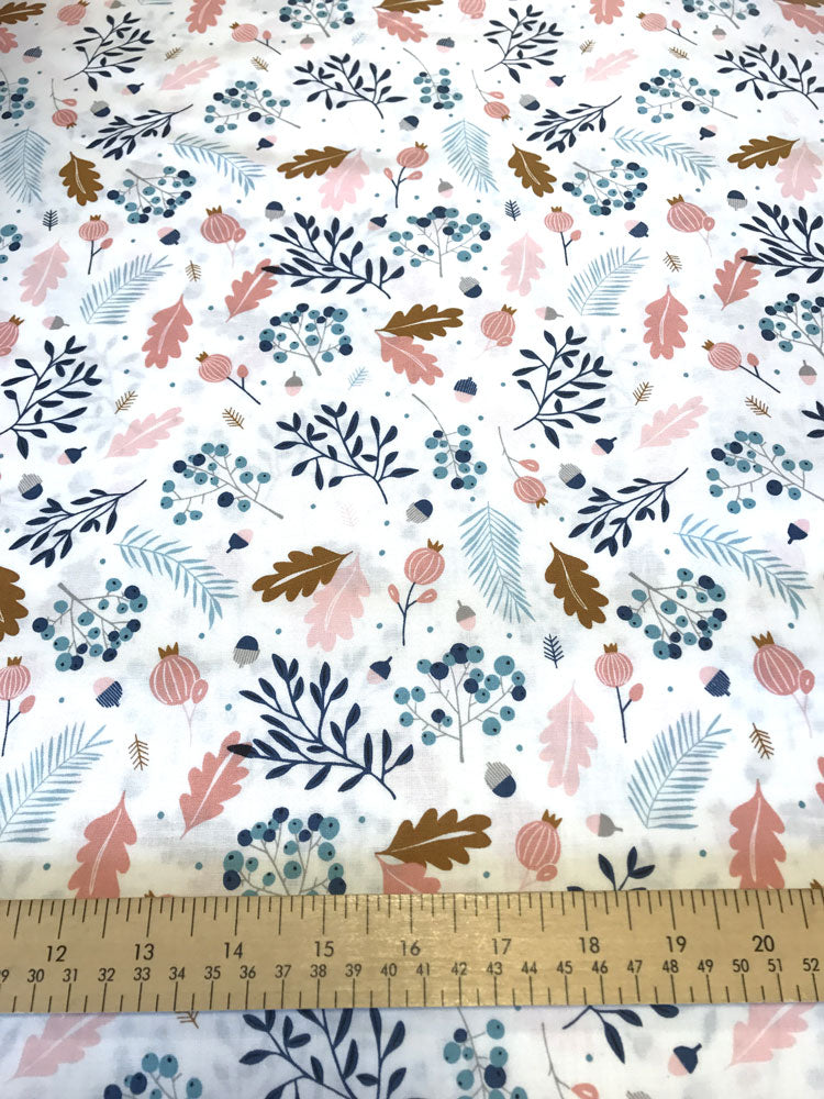Forest Talk - Pine - Cream and Blue - Craftyangel