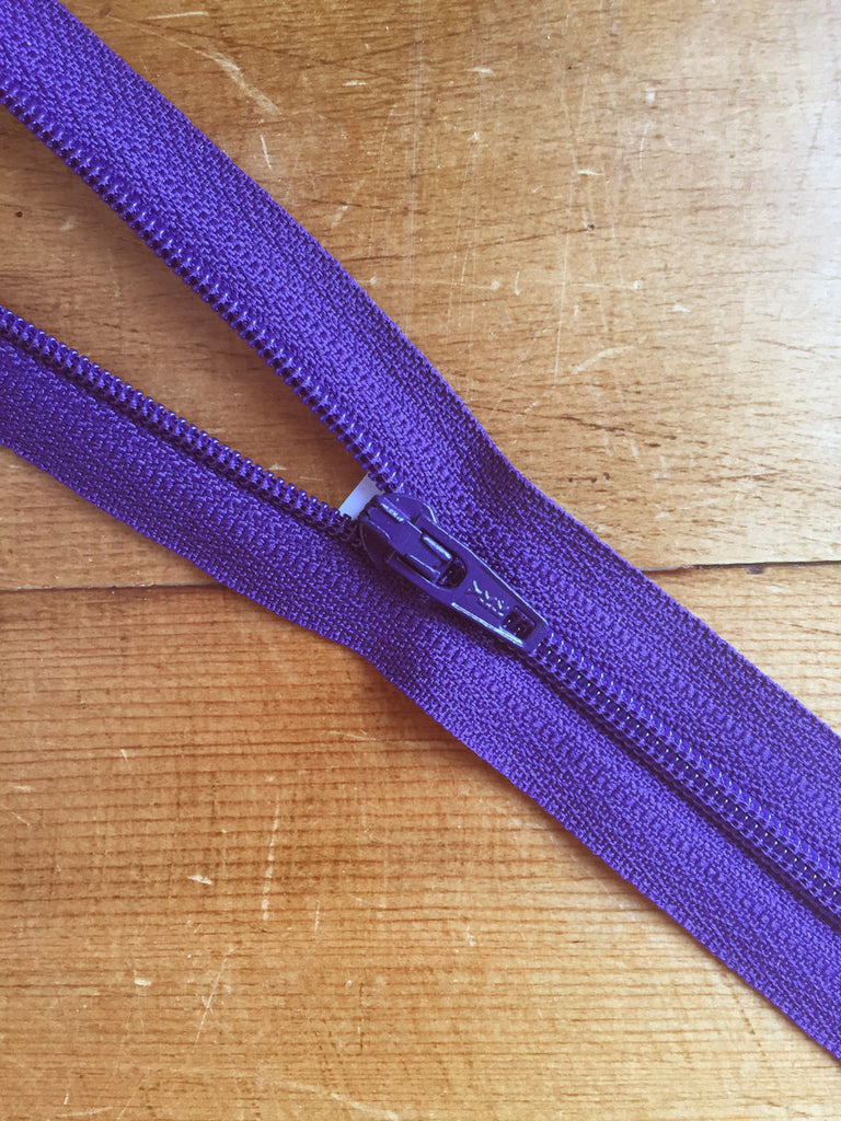 "10""/25cm Nylon Skirt/Dress Zip - Purple - Craftyangel"