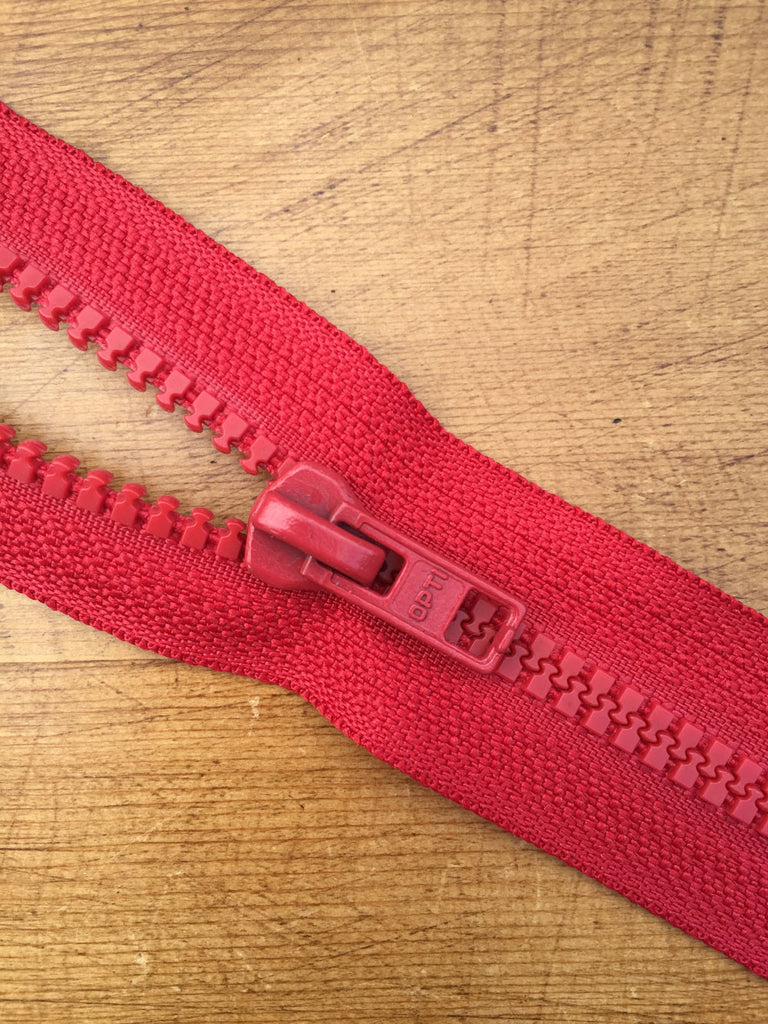 "Nylon Chunky Open Ended Zip - 14""/36cm - Red - Craftyangel"