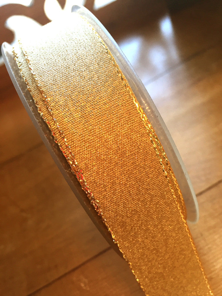 Metallic Lame Ribbon - 25mm wide - Gold