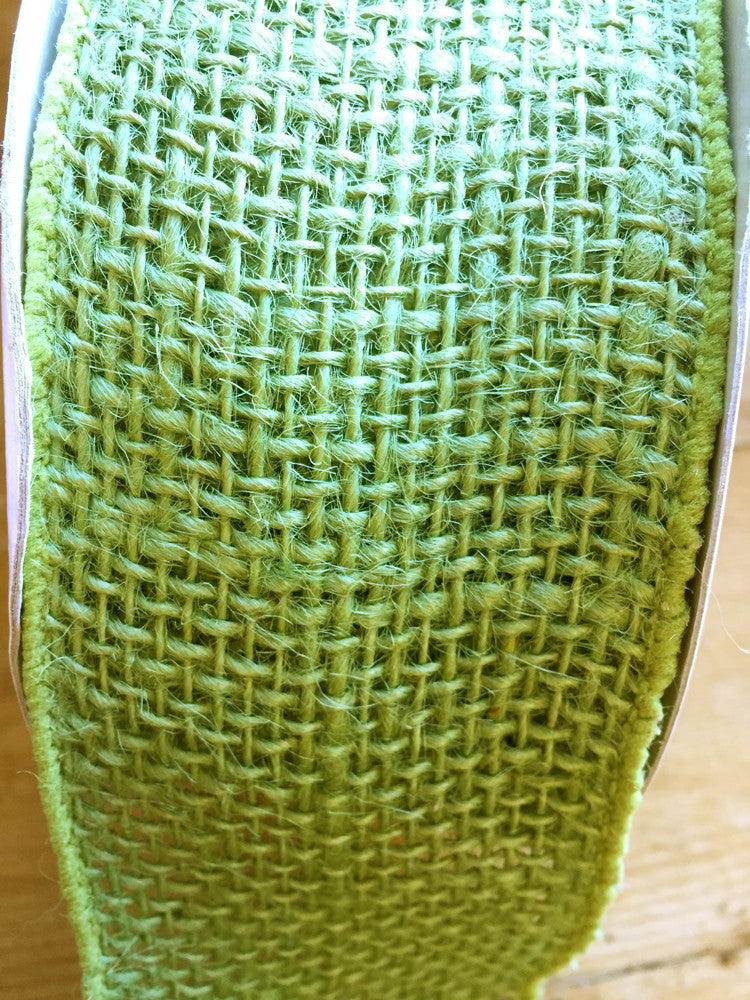 "Woven burlap wired edge ribbon - 2.5""/64 mm wide - Green"