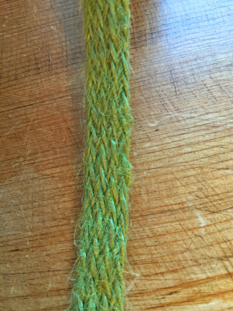 Natural woven hessian ribbon - 12 mm wide - Green