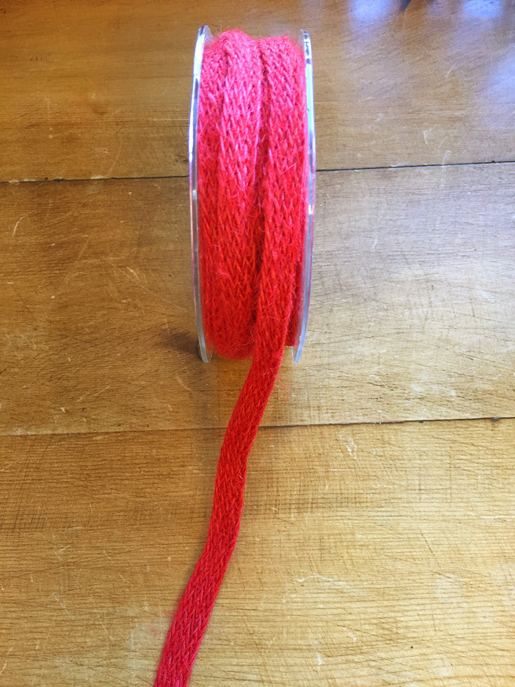 Natural woven hessian ribbon - 12 mm wide - Red