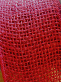 Woven burlap wired edge ribbon - 64 mm wide - Red - Craftyangel