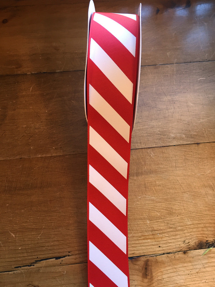 Candy Stripe - grosgrain ribbon 38mm wide - Red and White - Craftyangel