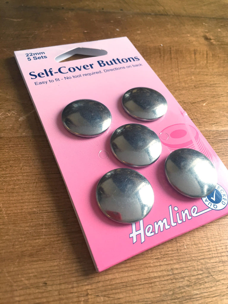 Self Cover Buttons - Metal - 22mm - Pack of 5