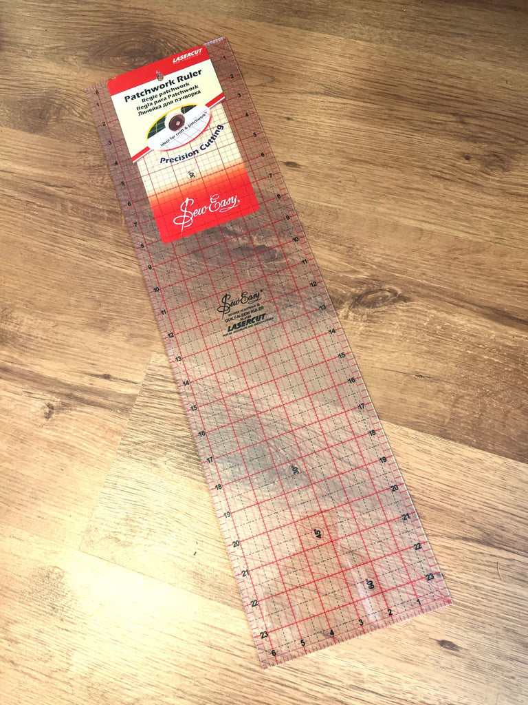 "Sew Easy Patchwork Ruler - 6.5"" x 24"" (16.5cm x 61cm) - Craftyangel"