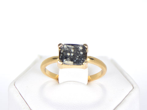 The Moon Ring - Genuine Lunar Meteorite Jewelry - 14Kt Gold - Size 7