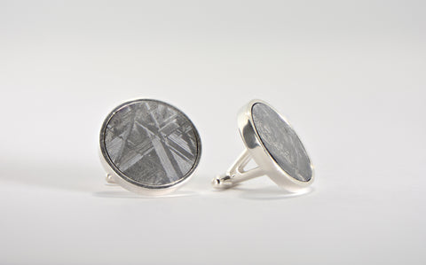 Meteorite Cufflinks I Beautifully Etched I 925 Silver - Meteorite Jewelry