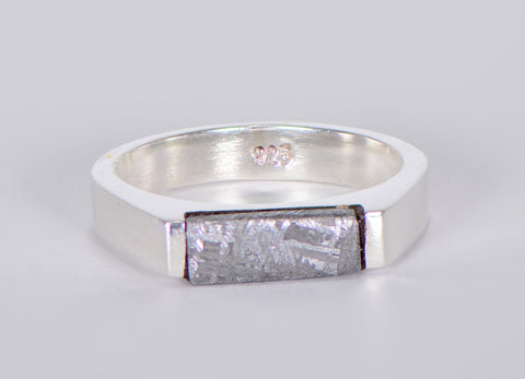 Beautiful Etched Gibeon Meteorite ring I Size 6 3/4 - Meteorite Jewelry