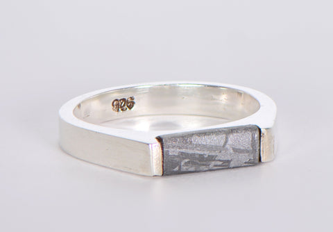 Beautiful Etched Gibeon Meteorite ring I Size 8 1/4  - Meteorite Jewelry