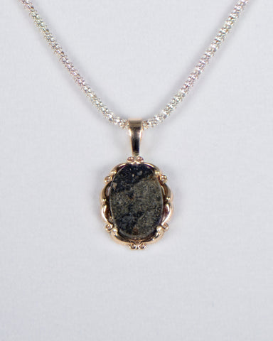 Martian Pendant - Genuine Mars Meteorite Jewelry - 14Kt Gold
