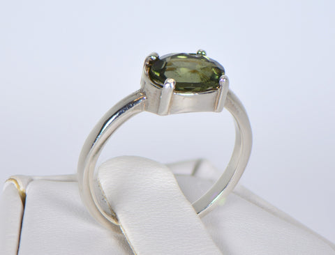 MOLDAVITE Glass Beautiful Faceted Ring - Size 5.5 - Jewelry