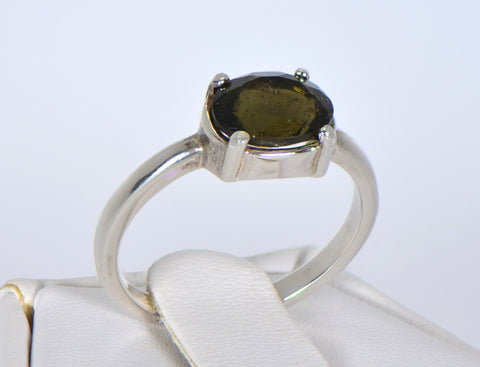 MOLDAVITE Glass Beautiful Faceted Ring - Size 5.25 - Jewelry