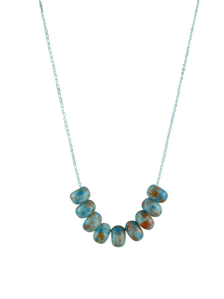 Porcelain Beaded Necklace -  Pale Blue