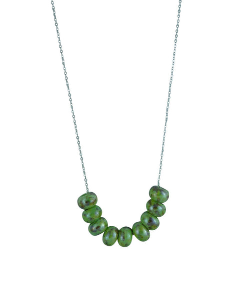 Porcelain Beaded Necklace -  Green