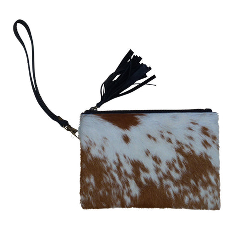 Pamela - Brown & White Cowhide Purse