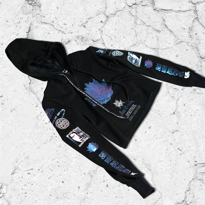 MIND OF ZEN • Iridescent Ink • Cropped Hoodie Hoodie