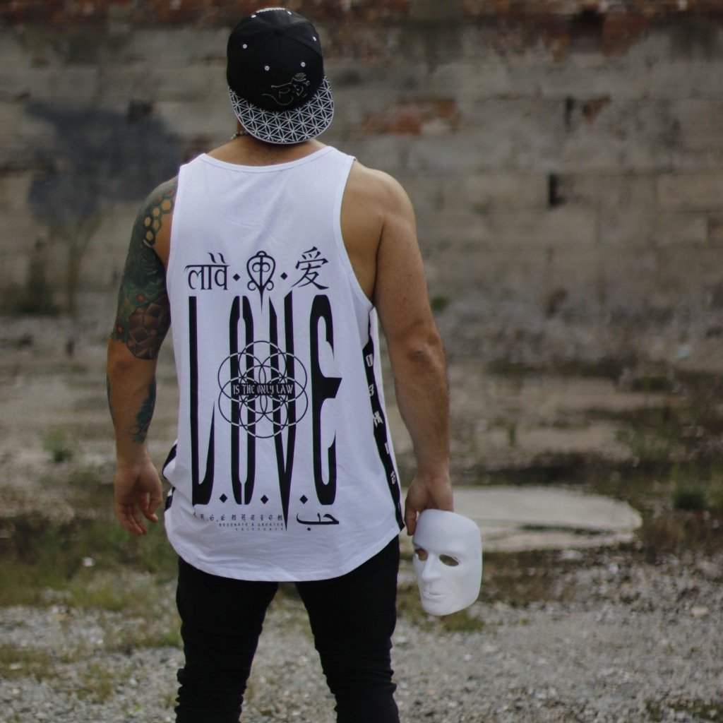 LOVE IS THE ONLY LAW // WHITE VARIANT // Oversized Scooped Tank Top
