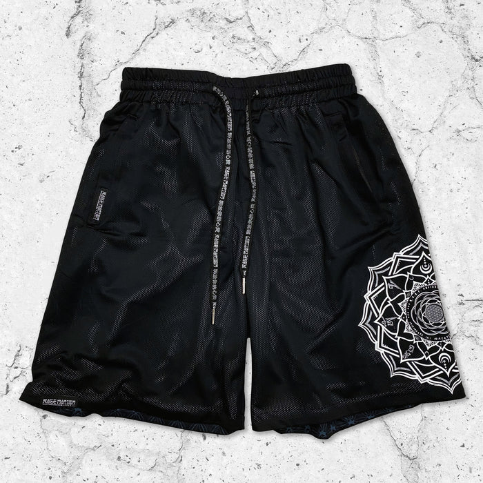 MANTRA V1 • Black/Silver • Reversible Activewear Shorts Shorts