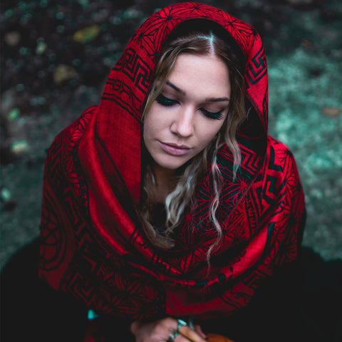 NEW RELEASE \\ DREAM AWAKE • CRIMSON VARIANT // Reversible Festival Shawl / Scarf