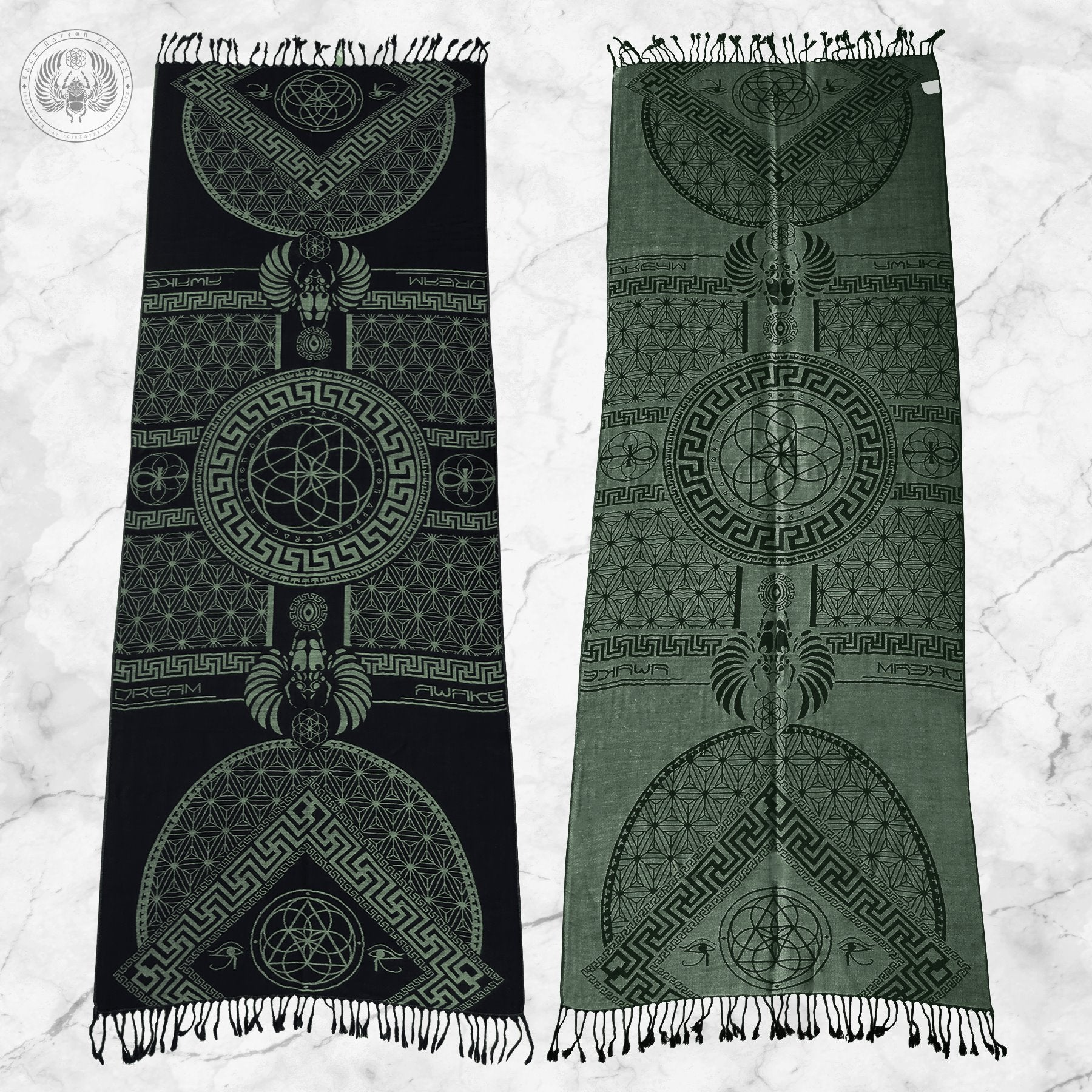 DREAM AWAKE • SAGE GREEN • Reversible Festival Shawl/Scarf Shawls