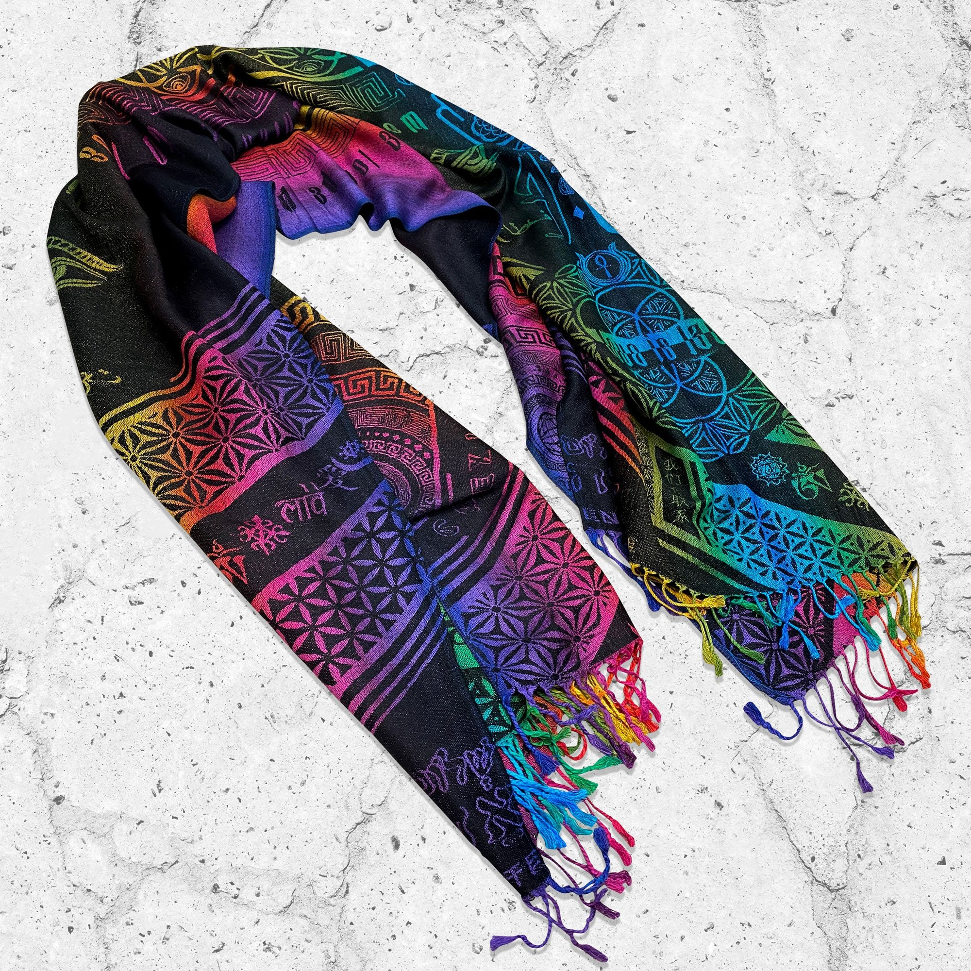 [NEW] LOVE IS LAW • SPECTRUM • Reversible Festival Shawl/Scarf Shawls