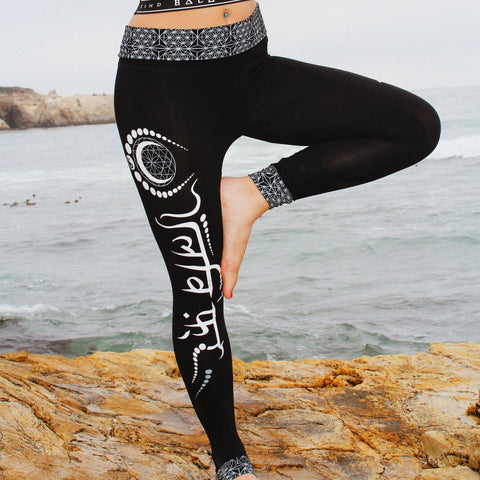 LIVE FREE // Sanskrit Yoga Pants // Leggings w/ fold-over waist