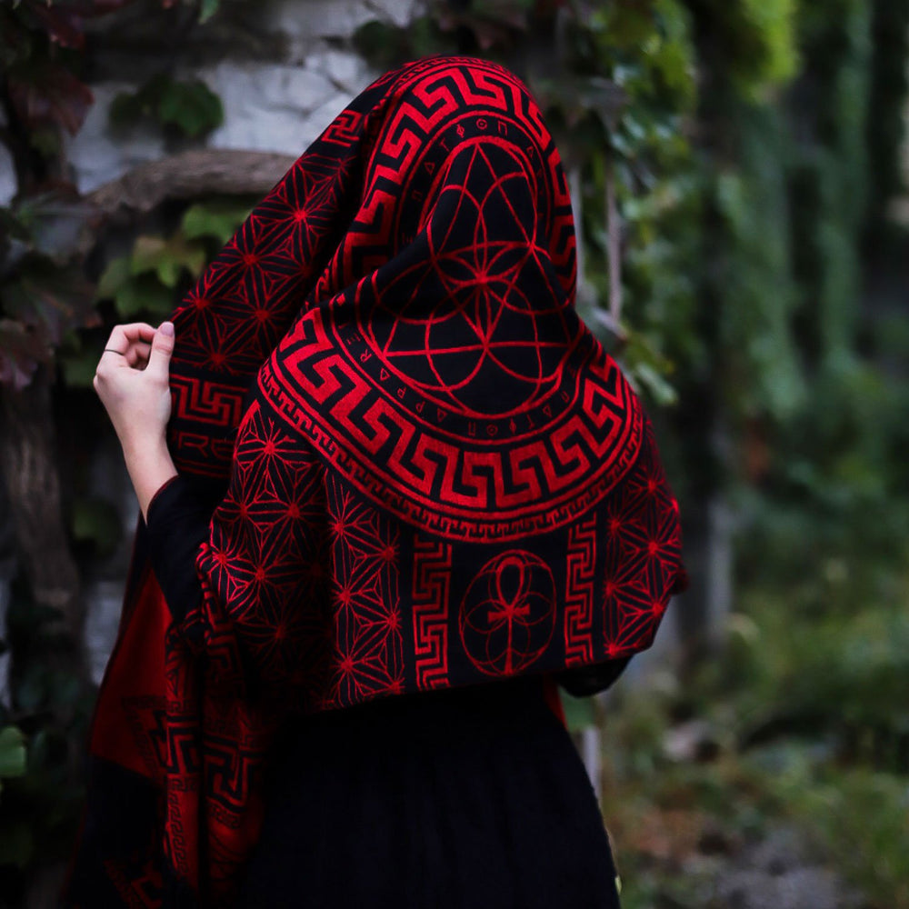 DREAM AWAKE • CRIMSON • Reversible Festival Shawl/Scarf