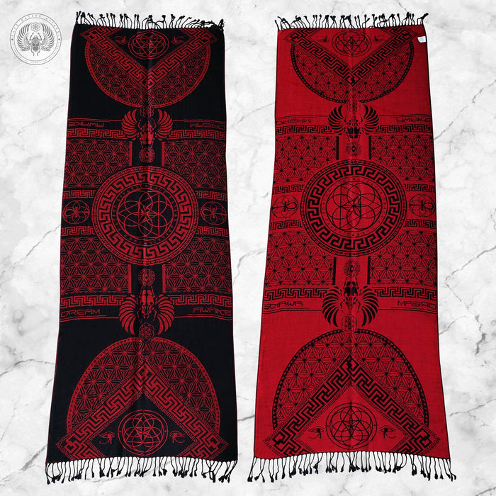 DREAM AWAKE • CRIMSON • Reversible Festival Shawl/Scarf Shawls