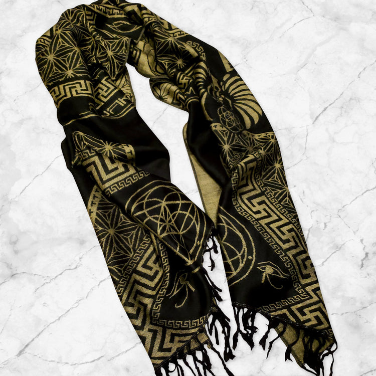 DREAM AWAKE • TRUE GOLD • Reversible Festival Shawl/Scarf Shawls