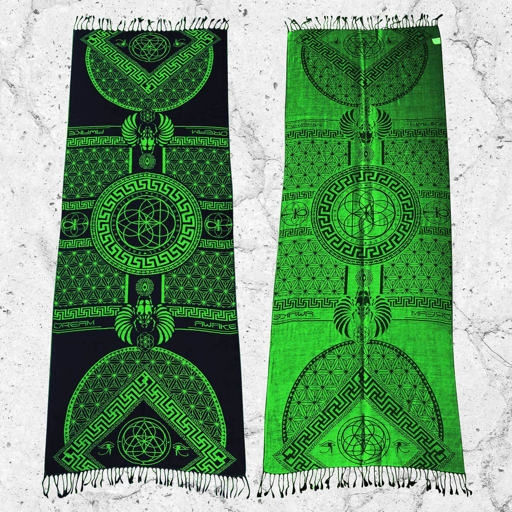 DREAM AWAKE • UV REACTIVE NEON GREEN • Reversible Festival Shawl/Scarf Shawls
