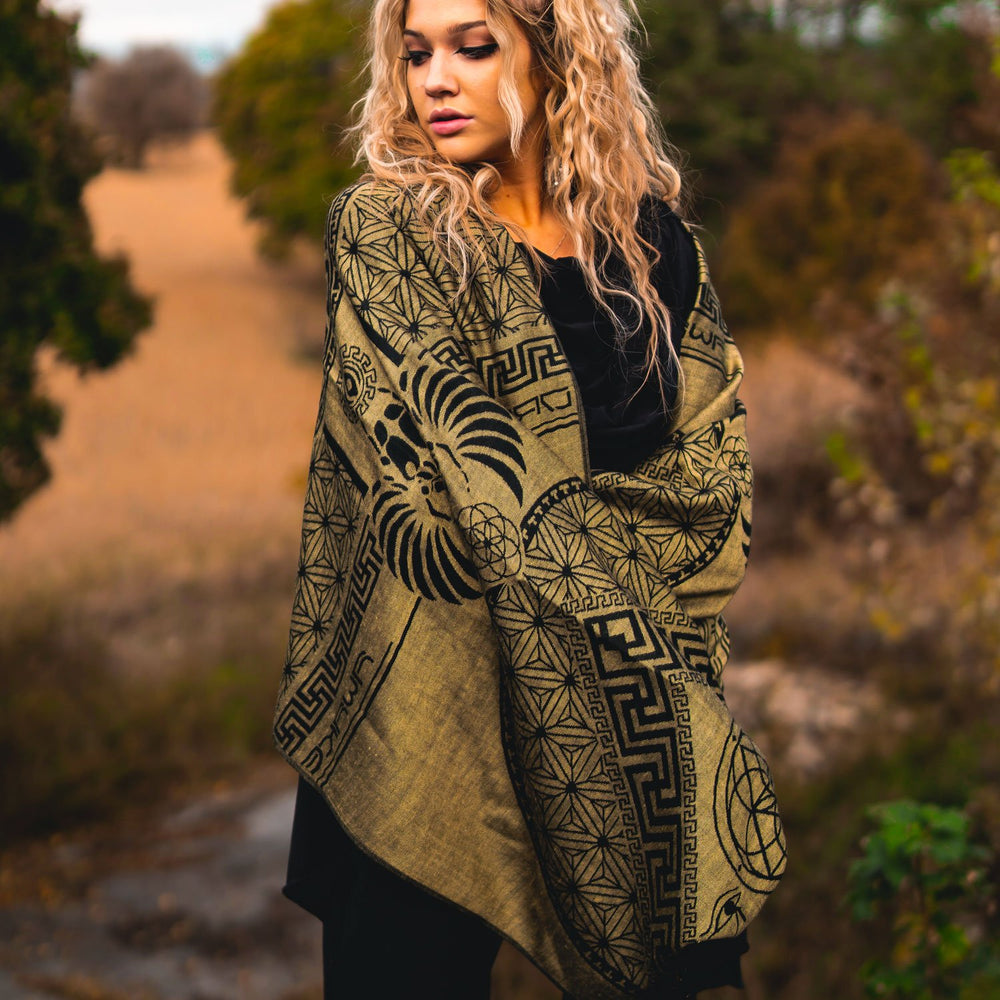 DREAM AWAKE • GOLD • Reversible Festival Shawl/Scarf