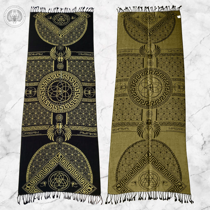 DREAM AWAKE • GOLD • Reversible Festival Shawl/Scarf Shawls