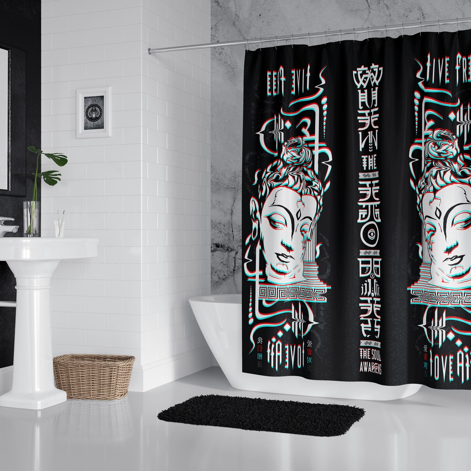 LIVE FREE x LOVE ALL // Shower Curtain