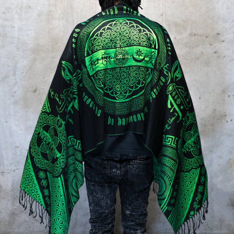 LOVE IS LAW • NUCLEAR GREEN • UV-Reactive Reversible Festival Shawl/Scarf Shawls
