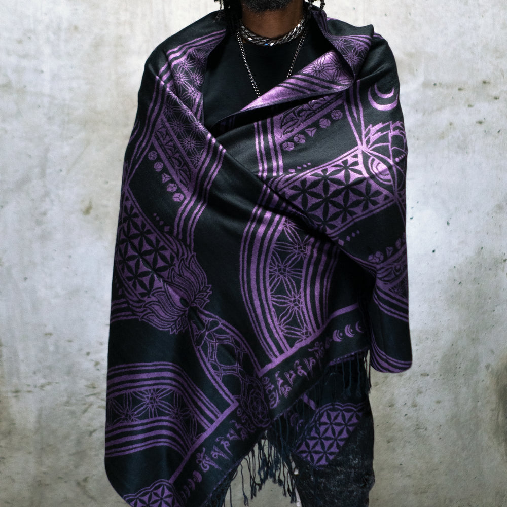 MANTRA • PURPLE HAZE • Reversible Festival Shawl/Scarf Shawls